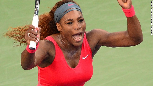 U.S. Open titleholder Serena Williams celebrates after defeating China's Li Na at the Billie Jean King National Tennis Center in New York.