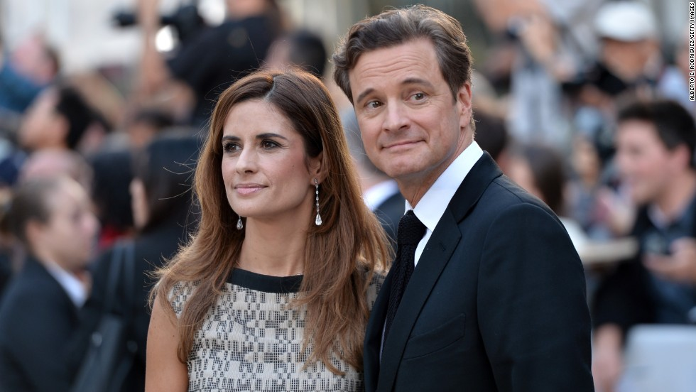 "Producer Livia Giuggioli and actor Colin Firth arrive at ""The Railway Man"" premiere at the Roy Thomson Hall on September 6."