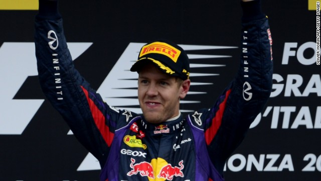 Sebastian Vettel celebrates his sixth victory of the 2013 season to extend his lead in the title race to 53 points over Fernando Alonso.