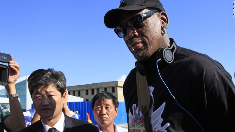 "Rodman arrives at North Korea's Pyongyang airport on Tuesday, September 3. In a later interview with <a href=""http://www.theguardian.com/world/2013/sep/09/dennis-rodman-north-korea-baby-name"" target=""_blank"">the British newspaper The Guardian</a>, the ex-basketball star leaked the purported name of Kim's baby daughter."
