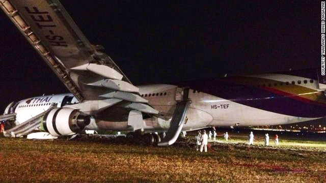 Thai Airways says a landing gear malfunction caused its Airbus A330-300 to skid off the runway after landing in Bangkok.