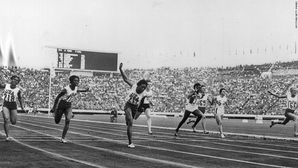 October 10, 1964: Edith McGuire and Wyomia Tyus of the U.S. and Ewa Klobukowska of Poland during the Women's 100 meter final. Tyus won the race.