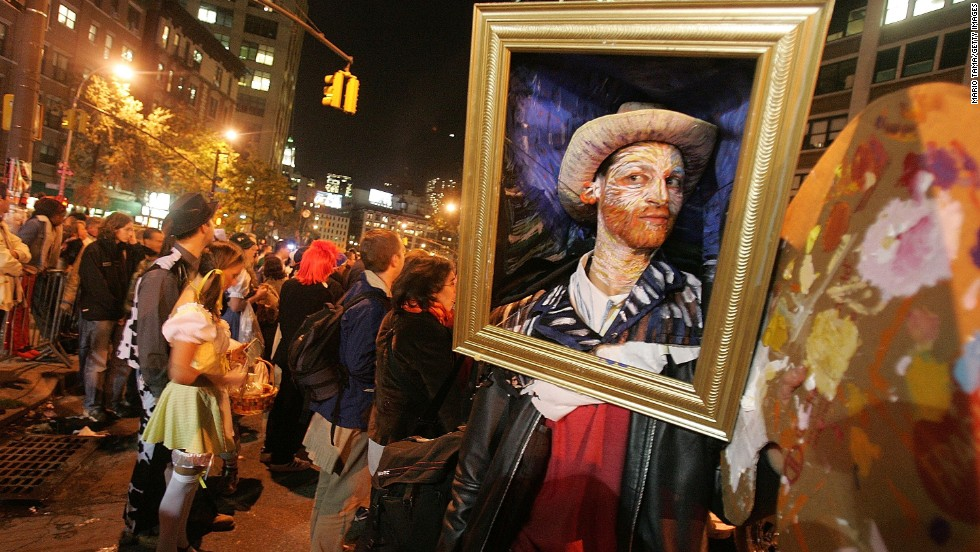 A man dresses as a van Gogh painting during the annual Village Halloween Parade in 2005 in New York City.