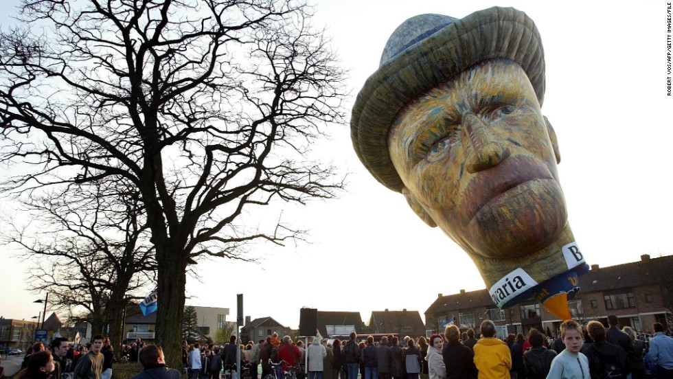 It's been 125 years since Vincent van Gogh cut off part of his ear in a fit of depression, and today people remain inspired and intrigued by the prolific post-Impressionist Dutch painter. Here, a hot air balloon designed in his image celebrates the anniversary of his birth in Zundert, Netherlands, in March 2003.