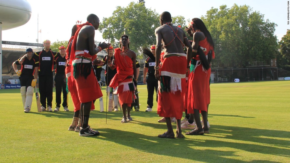 The Maasai Cricket Warriors perform a traditional dance at the Lord's Nursery Ground on September 4.
