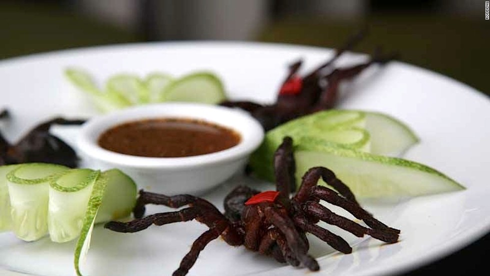 Though Phnom Penh's Romdeng restaurant is known for its fine Cambodian cuisine, there are some menu items not everyone can stomach -- like these fried tarantulas (a local delicacy) paired with pepper and lime sauce.