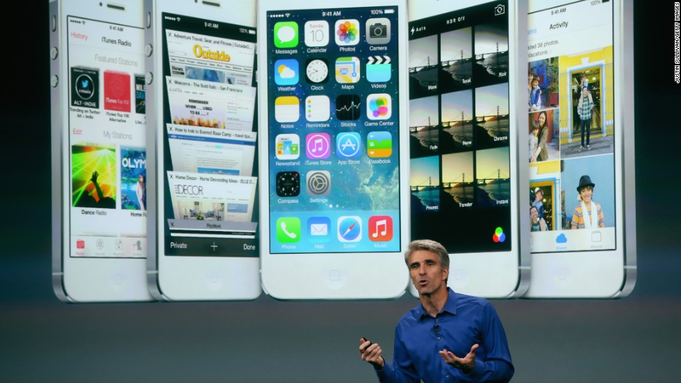 Apple Senior Vice President of Software Engineering Craig Federighi speaks about iOS 7, the next version of Apple's mobile operating system. A complete overhaul of the system that runs iPhones and iPads, iOS 7 will be available September 18.