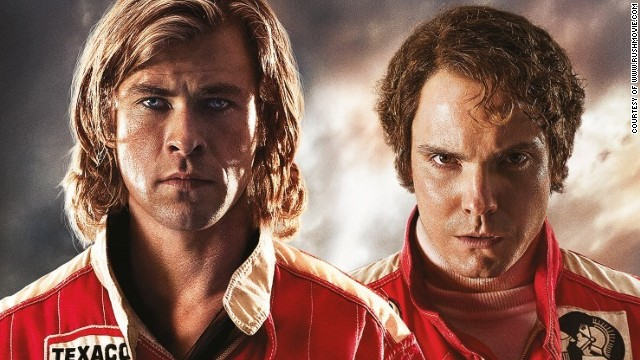 """Chris Hemsworth and Daniel Brühl  in the poster for the film 'Rush."""""""
