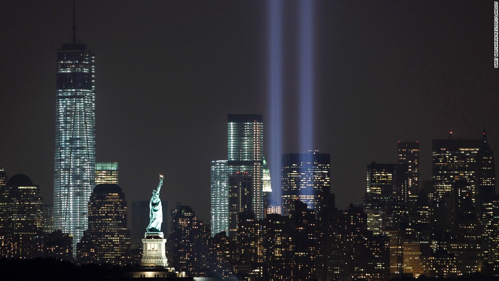 The Tribute in Light marks the 12th anniversary of the 9/11 attacks on the evening of Tuesday, September 10, in New York.