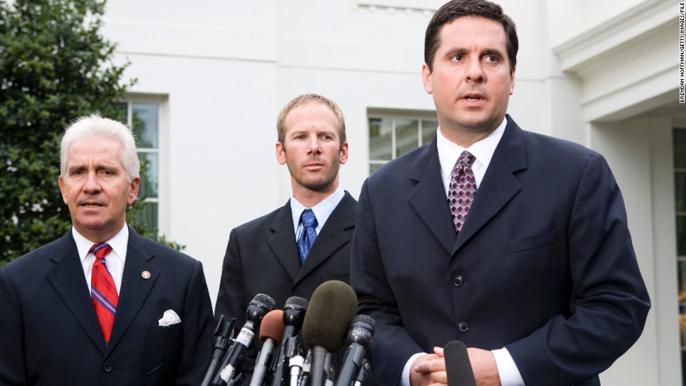 Rep. Devin Nunes, right, is one of few House Republicans openly working on a possible compromise resolution on Syria. The Californian also sits on the House Intelligence Committee. Rep. Jim Costa, R-California, is at right with Jason Hubbard.