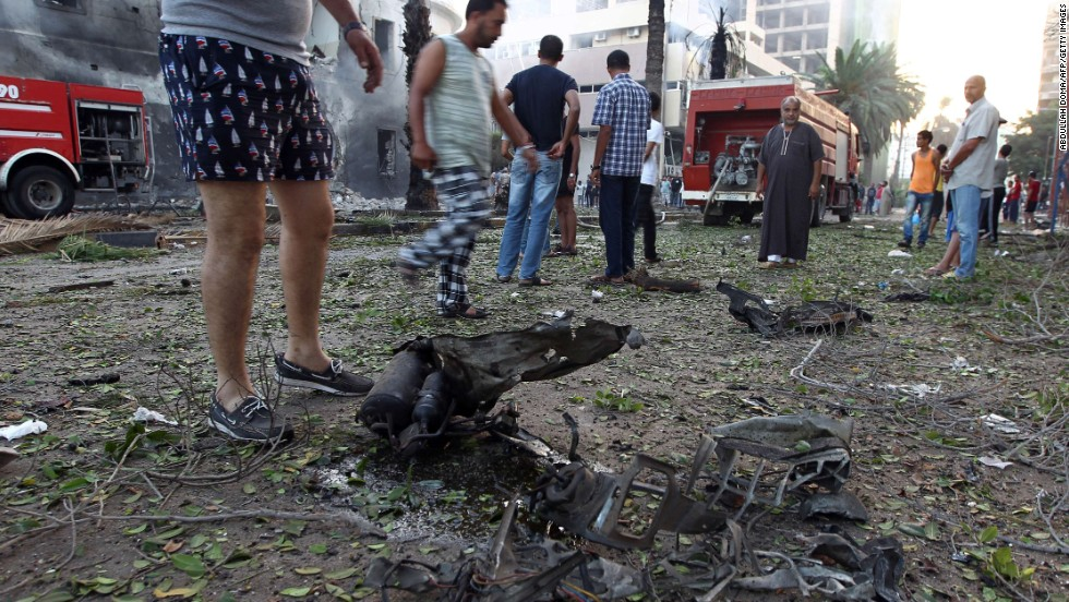 Remains of a burned car lay on the ground near the foreign ministry building on September 11.