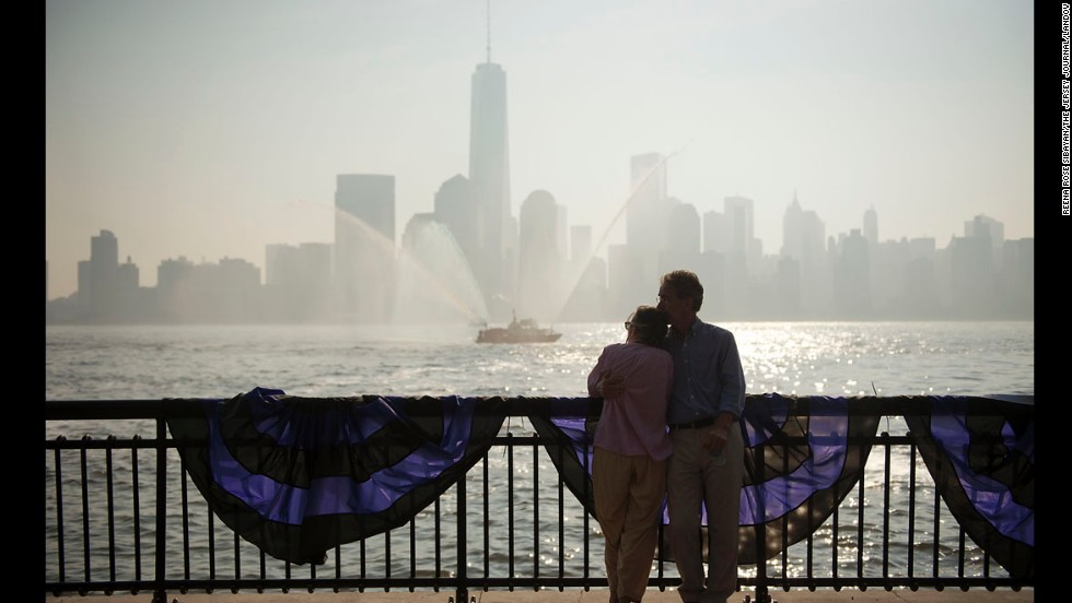 Susan Schwarzwald and her husband, Werner Bargsten, attend a memorial ceremony in Jersey City, Jersey.