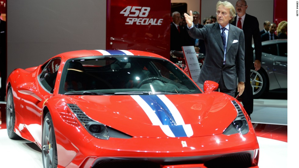 Ferrari president Luca Cordero di Montezemolo presents the new Ferrari 458 Speciale at the IAA International Automobile Exhibition on September 10, 2013 in Frankfurt, Germany.