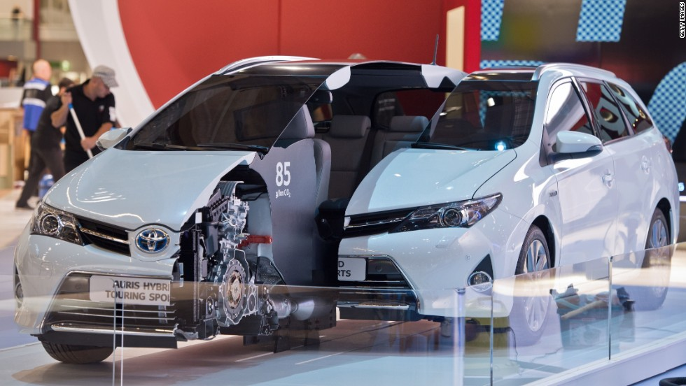 A Toyota Auris Hybrid model is seen at the International Motor Show IAA in Frankfurt Main, Germany, on September 8, 2013.