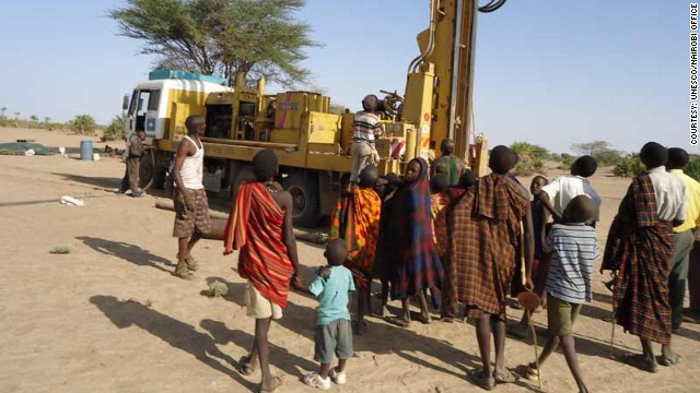 Community members gather at a selected drilling site at Nawaitarong village Kenya in a photo provided by UNESCO.