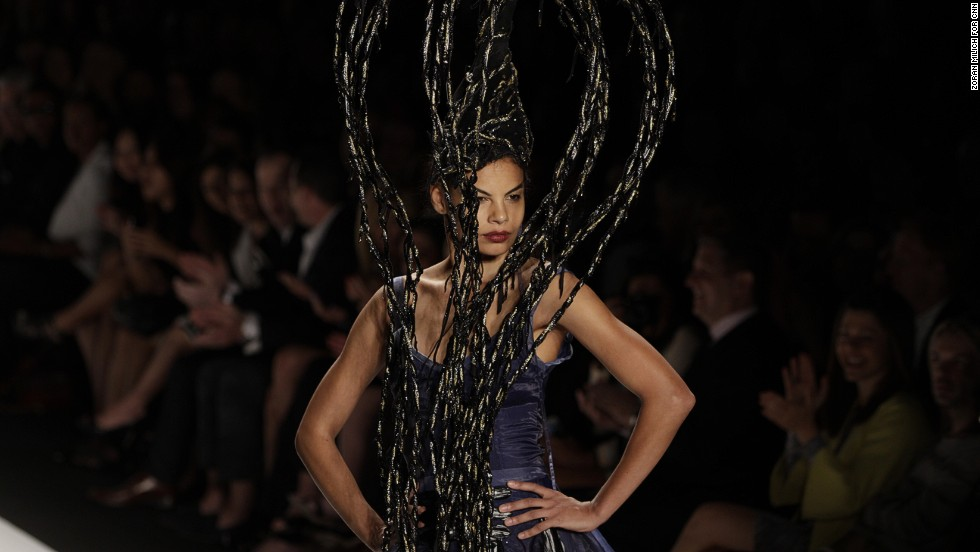 "A model walks the runway at the ""Project Runway"" show."