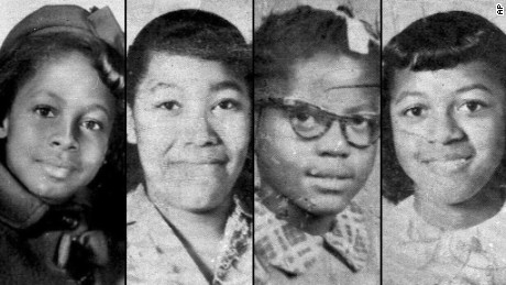 From left, 11-year-old Denise McNair and 14-year-olds Carole Robertson, Addie Mae Collins and Cynthia Wesley were killed. Three former Ku Klux Klan members were later convicted of murder.