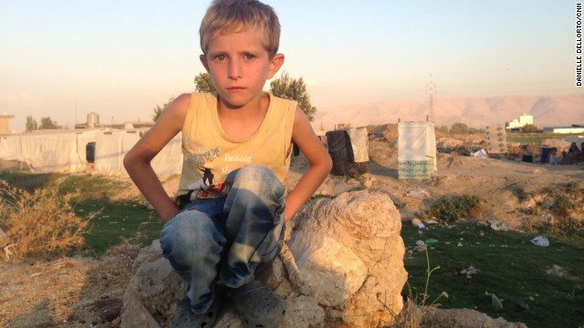 Abdel, 7, left his home in Syria four months ago for a refugee camp in Lebanon's Bekaa Valley.