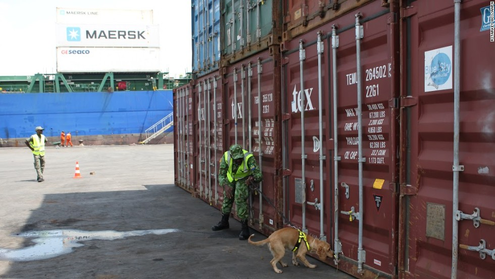 The four-legged detectives are regularly deployed in a number of locations in and around Gabon's capital Libreville, including Owendo port.