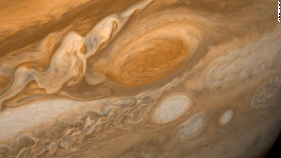 A dramatic view of Jupiter's Great Red Spot and its surroundings was obtained by Voyager 1 on February 25, 1979
