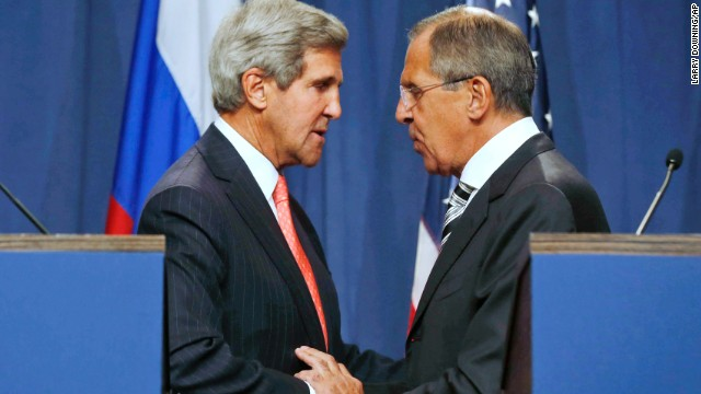 U.S. Secretary of State John Kerry, left, and Russian Foreign Minister Sergei Lavrov, shake hands after making statements following meetings regarding Syria, at a news conference in Geneva, Switzerland.