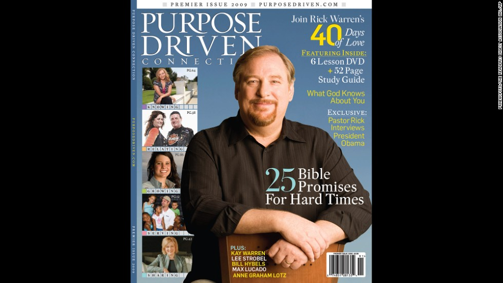 """Purpose Driven Connection,"" a subscription membership magazine produced by Warren with publisher  Reader's Digest Association Inc., officially launched on January 26, 2009."