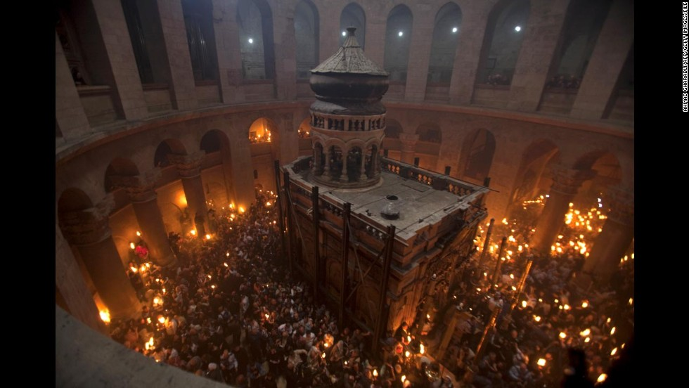 Worshipers gather in the rotunda of the Church of the Holy Sepulchre on the eve of Easter Sunday in April 2011.