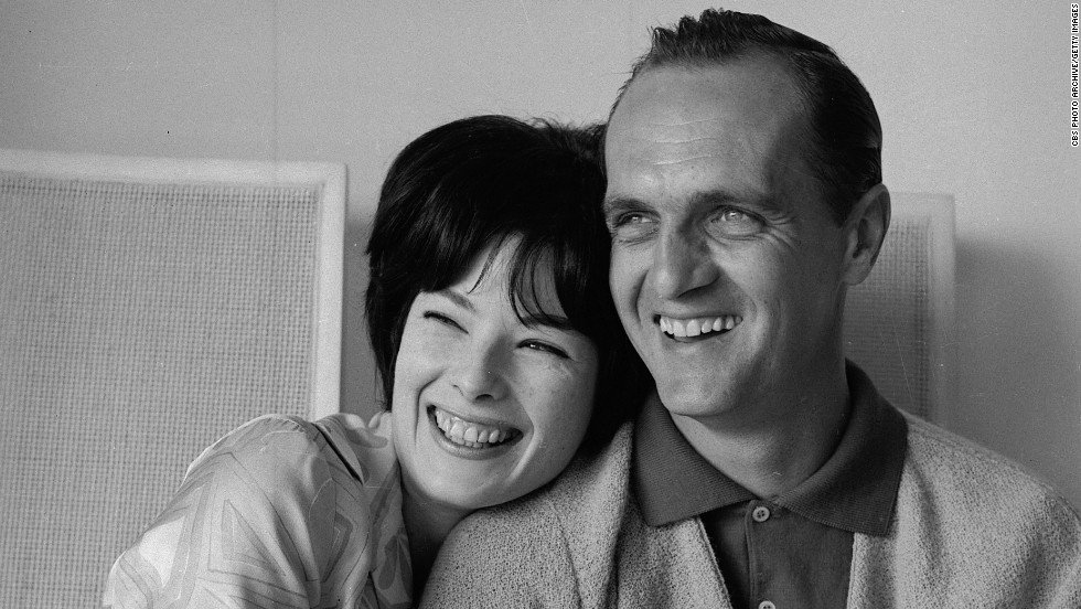 Newhart and his wife Ginny laugh together at their home in Westwood, Los Angeles, California, in 1964.