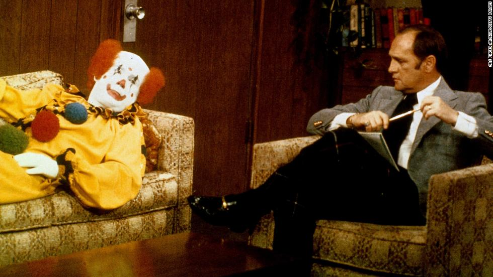 "Newhart played a psychiatrist in his show ""The Bob Newhart Show"" that ran from 1972-78. In this 1972 episode, Newhart counsels a clown about his problems."