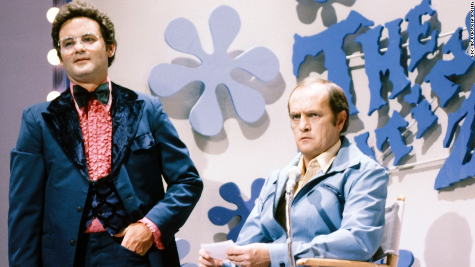 "Newhart plays Don Johnson, with Bill Murray as Jim Lange, for a ""The Dating Zone"" sketch on a Saturday Night Live episode in 1980."