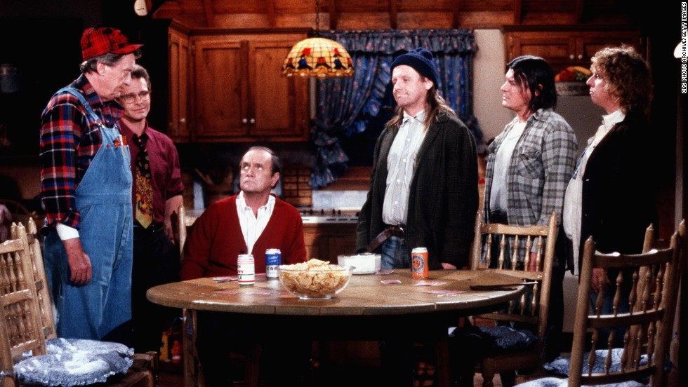 "Cast members of the comedy show ""Newhart"" appear during an episode in 1982. The show ran from 1982-1990."