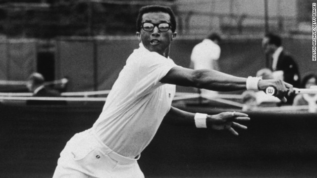 Arthur Ashe excelled on faster courts due to his serve and volley style seen here in action at Wimbledon in 1968.