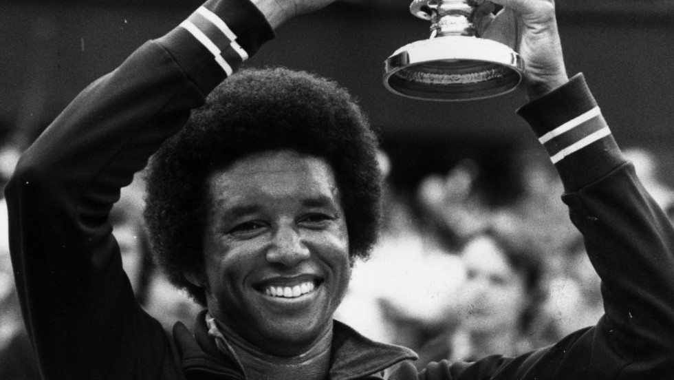 Arthur Ashe is all smiles as he holds the Wimbledon trophy aloft after his upset win over hot favorite Jimmy Connors in the 1975 final. But Ashe's tennis achievements are just part of his remarkable legacy.