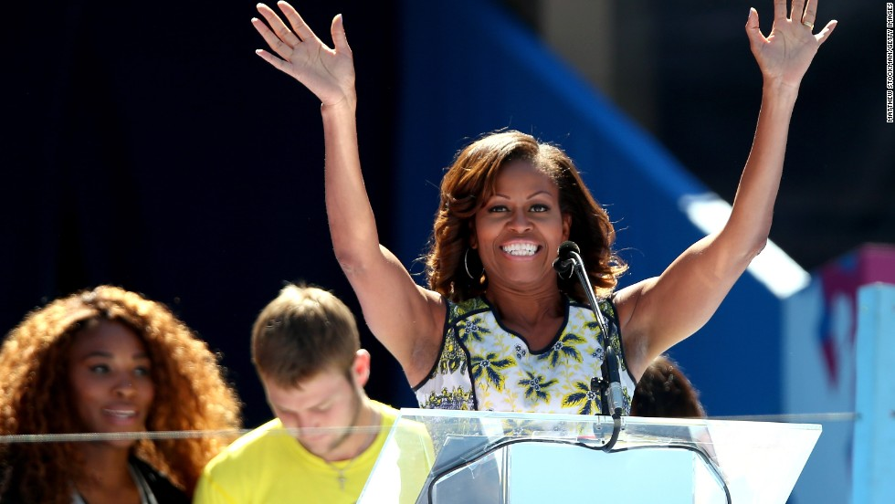 Michelle Obama addresses the crowd at the Arthur Ashe Kids' Day at Flushing Meadows on Saturday August 24.
