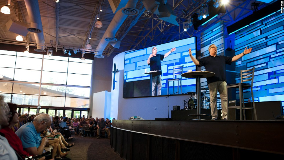 Warren delivers a sermon at Saddleback Church on September 14.