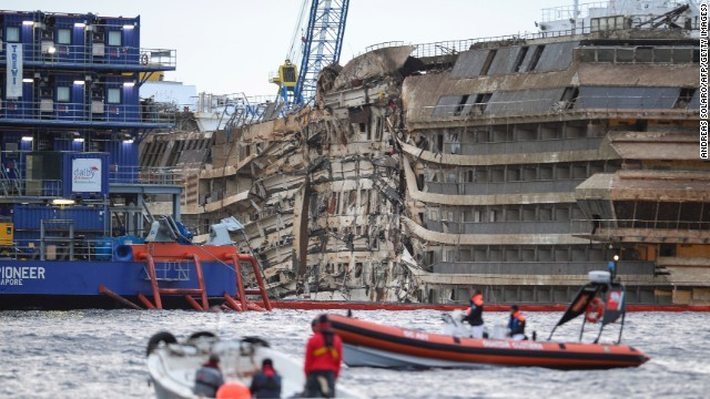 See Costa Concordia rise from water