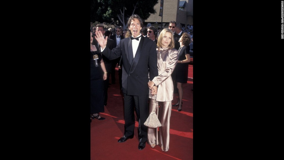 Actress Michelle Pfeiffer glowed next to TV powerhouse husband David E. Kelley at the 1995 Emmy Awards.