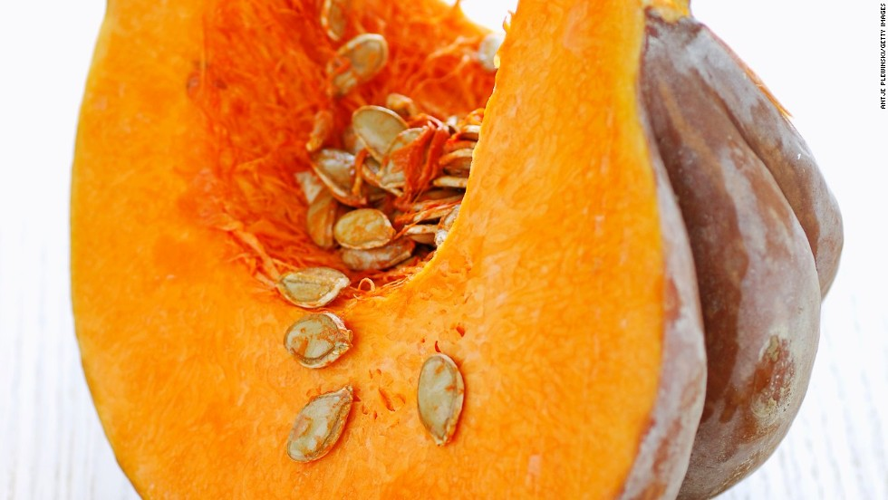 <strong>Pumpkin:</strong> A type of winter squash, pumpkin can be used for much more than jack-o'-lanterns. Its sweet taste and moist texture make it ideal for pies, cakes and even pudding!<br /><br />Health benefits include<br />• Rich in potassium <br />• More than 20% of your DRI of fiber <br />• Good source of B vitamins <br />Harvest season: October to February