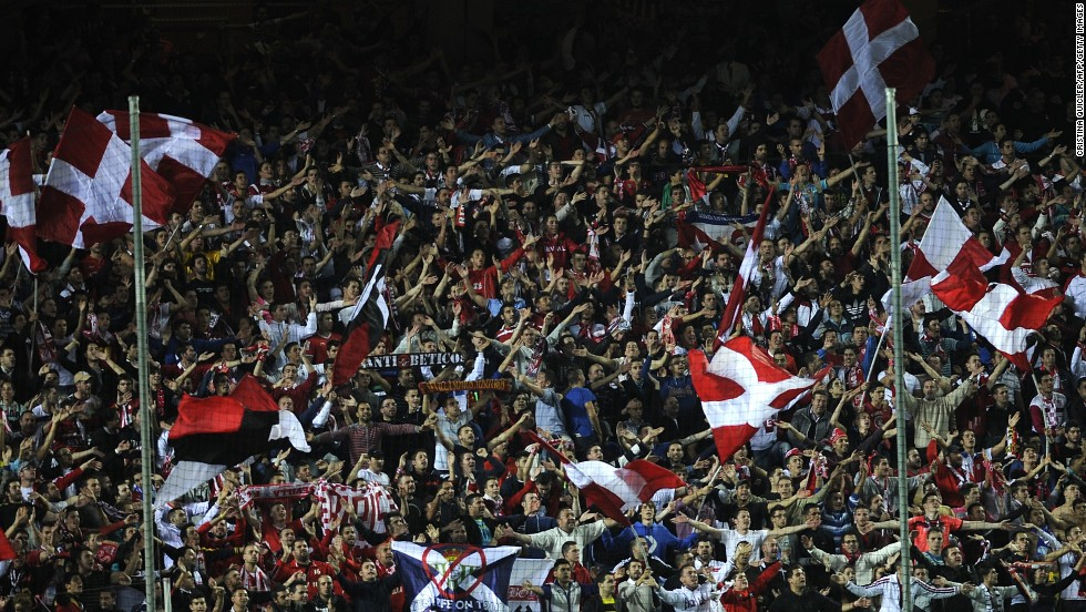 Spain is home to what many believe is the greatest club football team ever assembled -- FC Barcelona. But other teams also have their fans. Here Sevilla FC supporters cheer their team during a match against Real Betis in Seville in November.