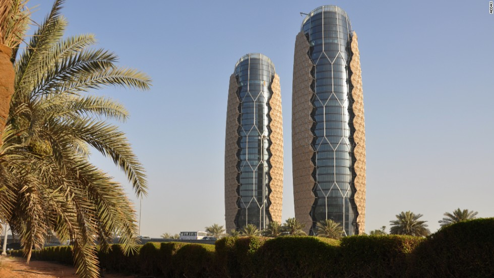 The Al Bahr Towers have a dynamic, translucent facade that runs off power generated by photovoltaic panels and that reacts to sunlight. The facade aims to reduce interior temperature from sunlight by around 50%. The mobile facade consists, per building, of 2,000 umbrella-like elements that can be opened and closed. <strong>Architects</strong>: Aedas Architects; Diar Consult