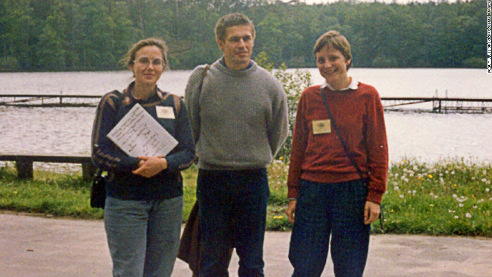 Merkel originally trained as a physicist. This picture, taken in 1989, shows her with her now husband, Joachim Sauer, and quantum chemistry professor Malgorzata Jeziorska during a summer school in the Polish city of Bachotek.