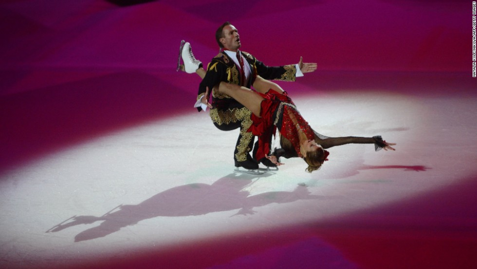 Russian ice dancer, World and Olympic champion, Tatiana Navka, performed with her partner at a ceremony celebrating the one year countdown to the Winter Games.