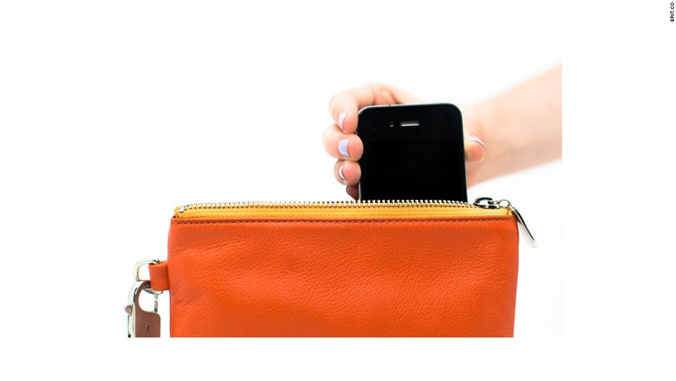"Charge your phone just by dropping it into the pocket of an <a href=""http://www.brit.co/everpurse-charges-your-iphone-all-day-long/"" target=""_blank"">Everpurse</a>."