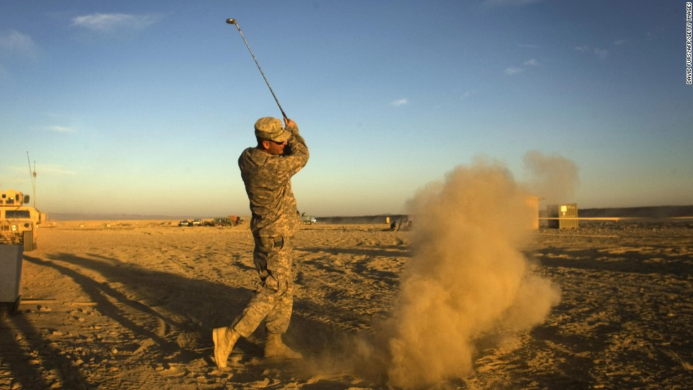 Not all extreme golfing venues are so formal. Here a U.S. Army soldier of 333 Military Police Company hits a golf ball at his forward operating base in Paktika province, situated along the Afghan-Pakistan border.