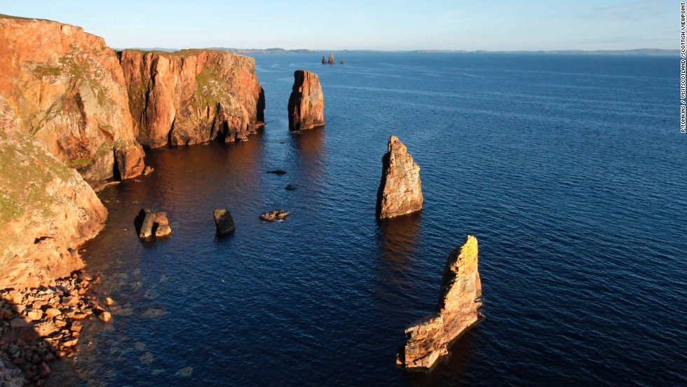 Yes, people do climb up Scotland's shard-like stacks.  One of the most challenging is the mean-sounding Old Man of Stoer.