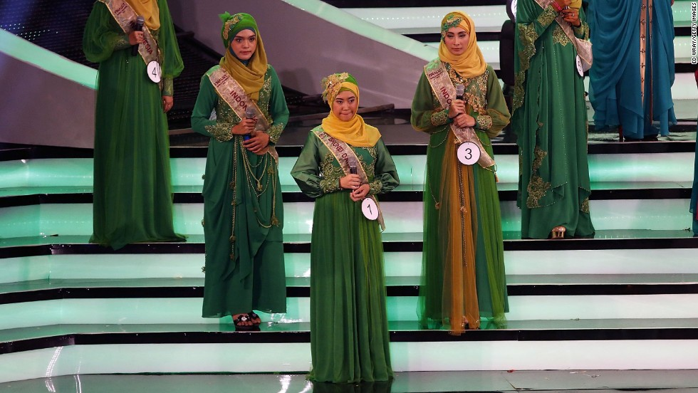Contestants perform on stage during the competition.