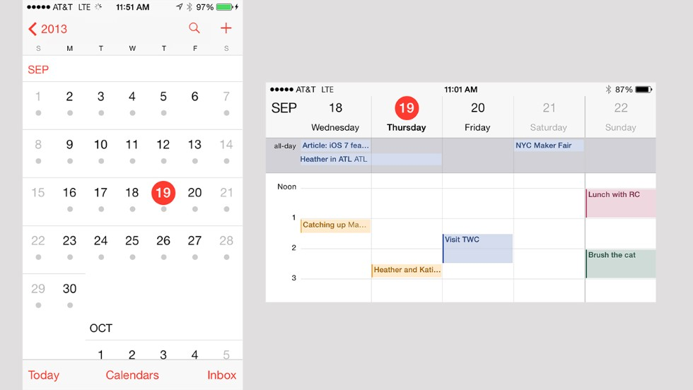 The calendar underwent one of the more radical redesigns in iOS 7. It no longer looks like a paper calendar.