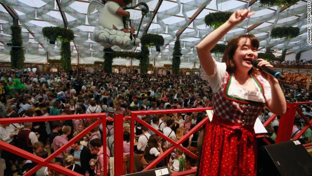 Most singing is welcome at Oktoberfest -- including Japanese yodeling, as this performer proved in a previous year.