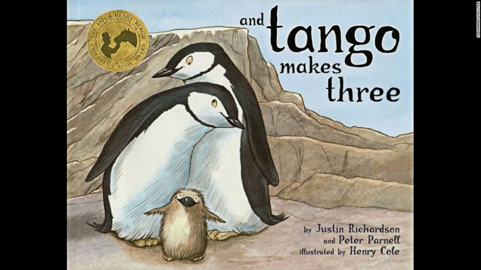 "After one year off the list, Peter Parnell and Justin Richardson's ""And Tango Makes Three"" is back among the most-challenged books. The 2005 children's book is based on the true story of a pair of male penguins at the Central Park Zoo who hatched an egg together. The book has generated acclaim and controversy based on challenges that it is ""unsuited for age group."" In 2012, it was marked for removal in the Davis, Utah, school district because parents might find it objectionable, according to the ALA."