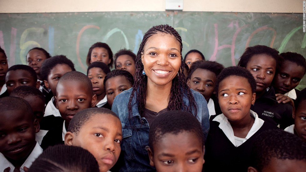Pumeza Matshikiza meets pupils at the school she attended as a child, Homba Public Primary School, in Cape Town.